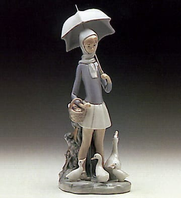 Girl W Umbrella Geese Lladro 01004510 Children Lladro
