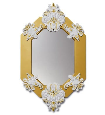 EIGHT SIDED MIRROR (WHITE / GOLD) Lladró